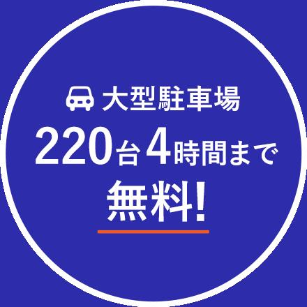 大型駐車場220台4時間まで無料!